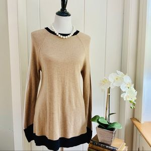 A NEW DAY Tan Black & Ivory Long Length Sweater